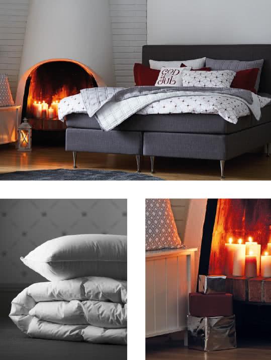 Varmt och mysigt sovrum i julens färger
