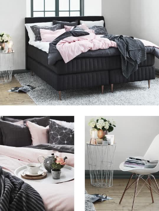 Trendigt sovrum med detaljer i rosé